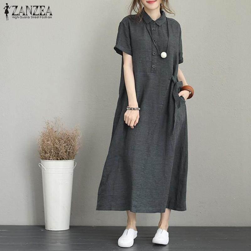 d1a0643a12b ZANZEA Women Buttons Neck Long Shirt Dress Lapel Short Sleeve Midi Dress  Kaftan Dress