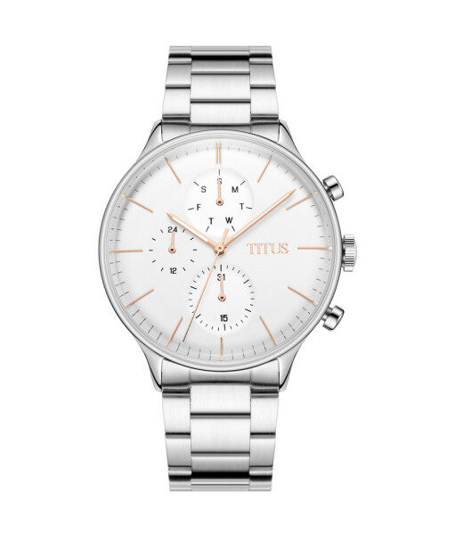 Solvil et Titus W06-03084-002 Unisexs Quartz Chronograph Watch in Silver White Dial and Stainless Steel Strap Malaysia