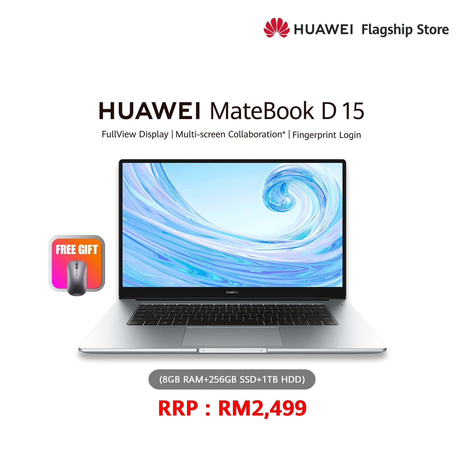 HUAWEI MATEBOOK D 15 (8+256+1TB) FREE GIFT MOUSE Malaysia