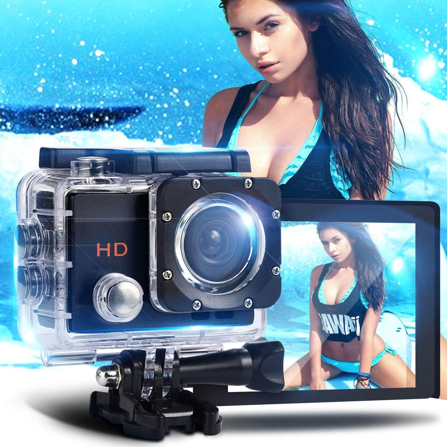 Sport Action Camera HD 1080P 2 0 LCD Screen Action Cam with Waterproof Case