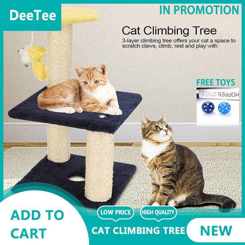 [gift For U Buying]deetee 3-Layer Cat Climbing Tree Scratching Post Board And Hanging Toy Home Pet Activity Center By Deetee Shop.