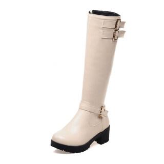 Womens Knee High Boots Side Zipper Chunky Heel Comfort Riding Boot thumbnail