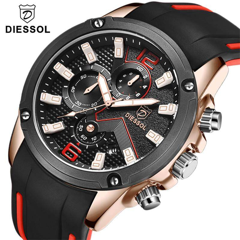 DIESSOL Top Luxury Brand Mens Fashion Sport Quartz Watch Mens Chronograph Analog Luminous Watches Rubber Strap Business Waterproof Wristswatch Malaysia