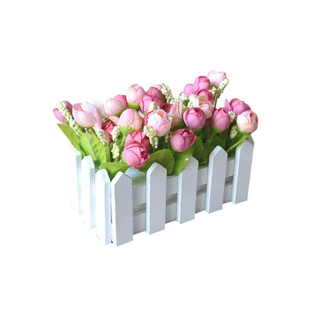 Venicenight 1 Set Berkayu Putih Pagar Bunga Buatan Pemegang Bunga Rumah Hiasan Taman