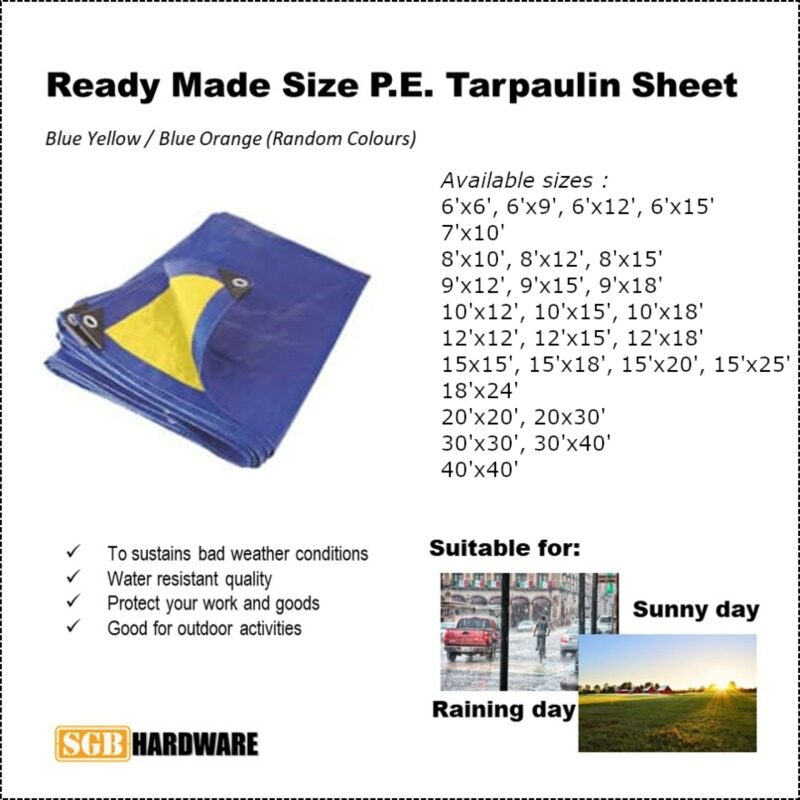READY MADE SIZE P.E. TARPAULIN SHEET CANVAS WATER RESISTANT SUNLIGHT UV COVER BLUE YELLOW / BLUE ORANGE (RANDOM COLORS) [10x12=120sq ft, 10x15=150sq ft, 10x18=180sq ft, 12x12=144sq ft, 12x15=180sq ft, 12x18=216sq ft]