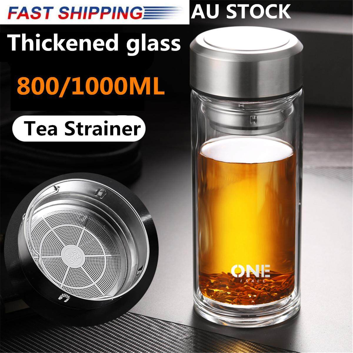 1924e9e3a41 ONEISALL Large Glass Water Bottle,Double Walled Travel Mug with Tea Infuser  34oz Large Glass