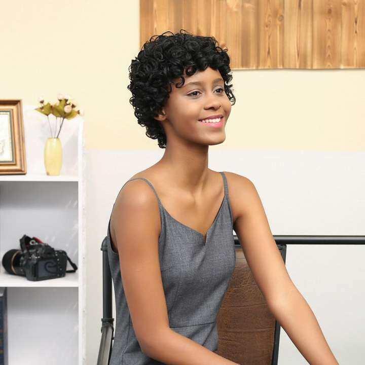 Fashiondoor Wanita Pendek Black Brown Front Curly Hairstyles Sintetik Rambut Rambut Palsu Rambut Untuk Wanita Hitam Lazada