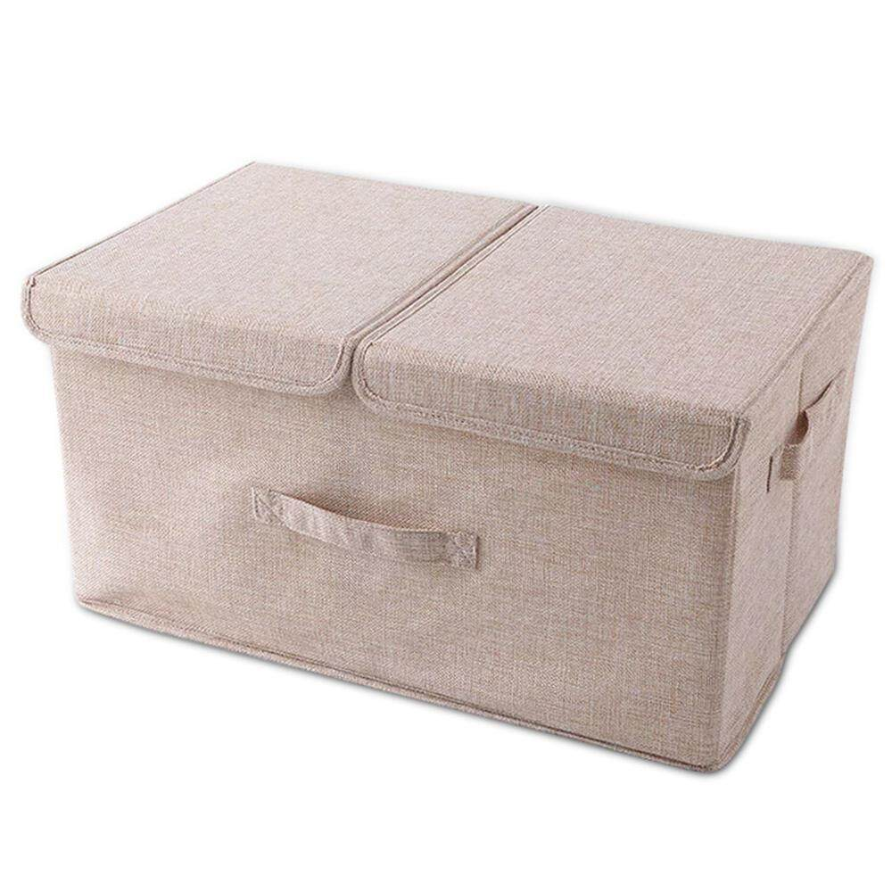 Fortunet Cotton Fabric Collapsible Storage Bins Baskets with Lids,Cube Storage Box with Handles,36*25*16cm