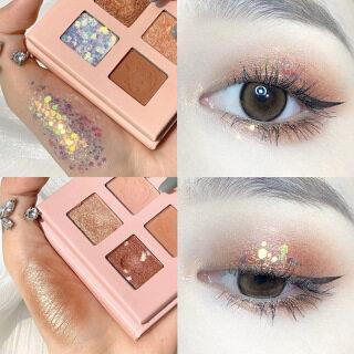 [Chính Hãng 100%] Phấn Mắt Mini 4 Kiểu Cầm Tay Bộ Trang Điểm Mắt Bảng Màu Bảng Màu Phấn Mắt Lấp Lánh Màu Động Vật Ánh Sáng Lung Linh Bóng Màu Hồng Pearlescent Phấn Mắt Kim Sa Không Thấm Nước thumbnail