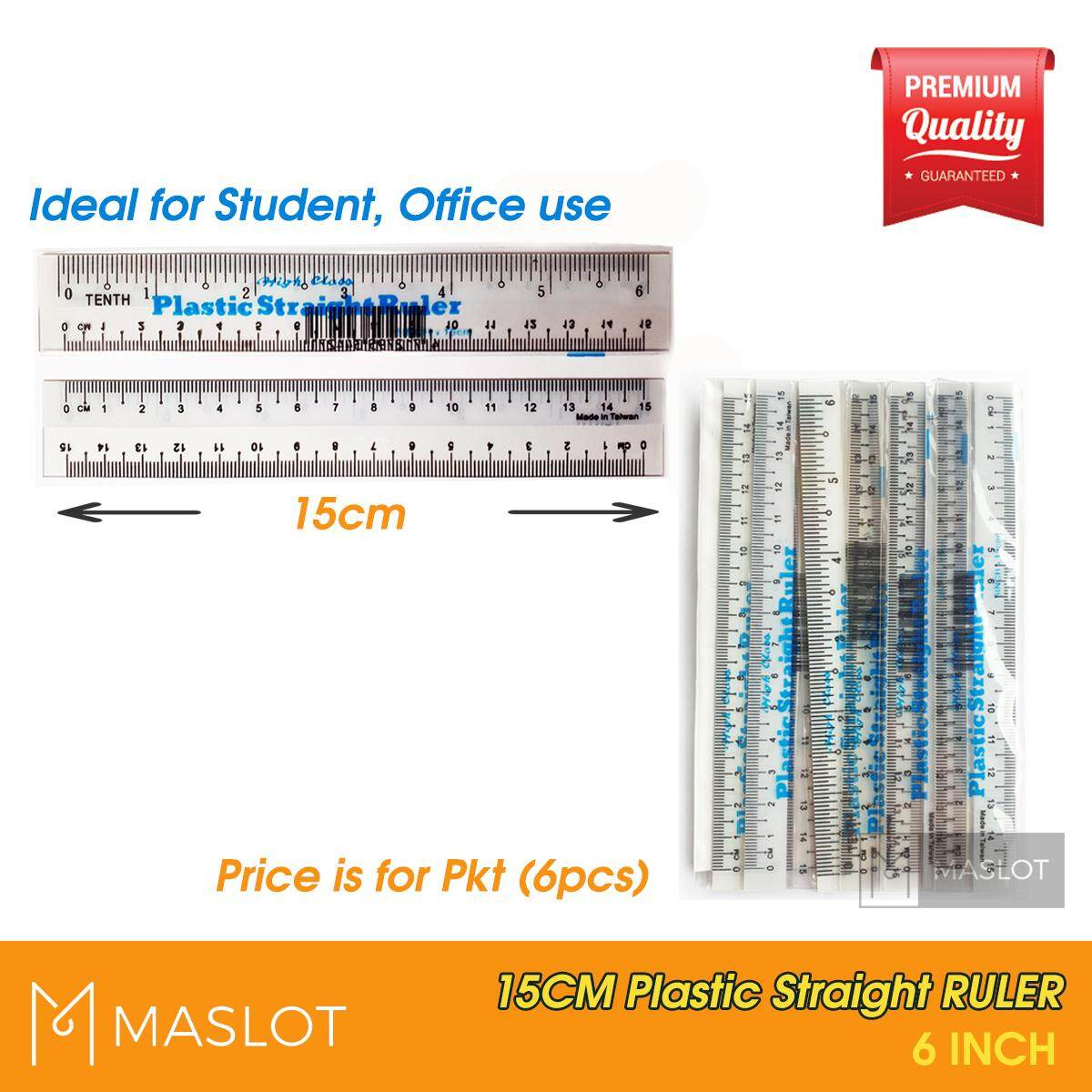 Plastic Student Straight Ruler 15cm (a=6pcs/pkt) (b=36pcs/box) By Maslot.