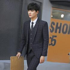 SULEE [Chất Lượng Cao] Bộ Đồ Công Sở Váy Mỏng Chuyên Nghiệp Hàn Quốc Cho Nam Bộ Đồ Chú Rể Phù Rể Bộ Đồ Ba Mảnh (Áo Khoác + Áo Vest + Quần)