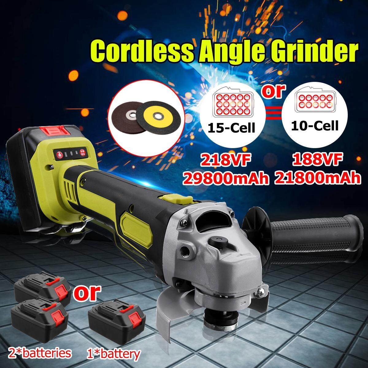 188VF/218VF 1/2 PCS Power Source 21800mah/29800mah Cordless Brushless Electric Angle Grinder 11000RPM Cutting Polishing Polisher Kit