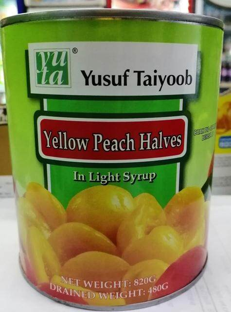 YUSUF TAIYOOB YELLOW PEACH HALVES IN LIGHT SYRUP 820G