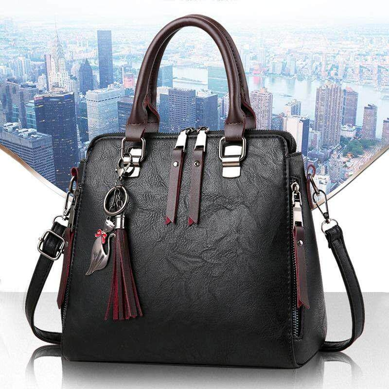 Fashion Handbag Beautiful Lady Crossbody Bag Elegant Pu Leather One Shoulder Handbags Shopping Bag black