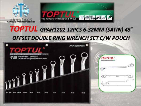 TOPTUL GPAH1202 12PCS 6-32MM 45˚ OFFSET DOUBLE RING WRENCH SET C/W POUCH
