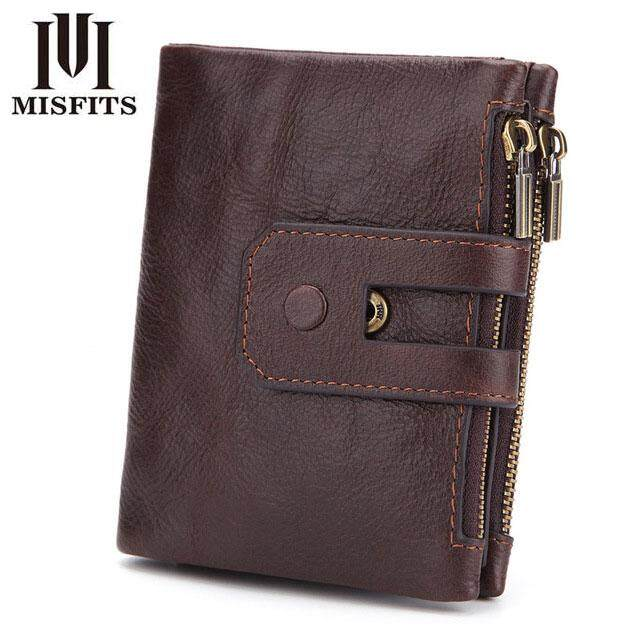 MISFITS Genuine Leather Mens Wallet Small Zipper Coin Purse Organizer Wallets Men Money Bag Card Holder For Rfid