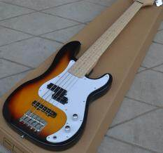 Mới 5 Dây Điện Bass Guitar, Sunburst Bồ Đề Cơ Thể & Phong Ván Trượt Ngón Tay có Đèn HG-132