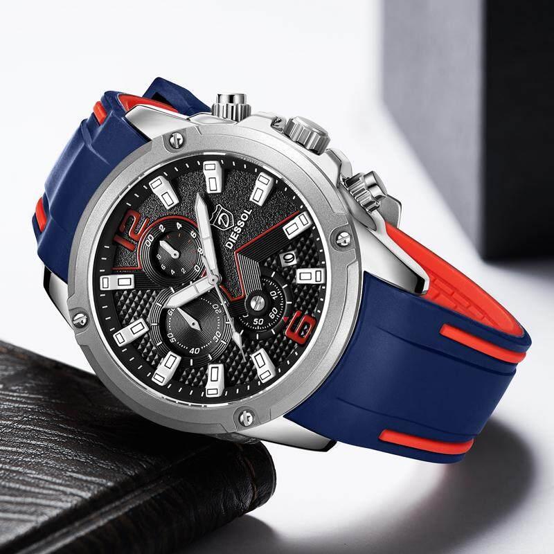 DIESSOL New Mens Sports Watches Men Top Brand Luxury Casual Quartz Clock Men Fashion Rubber Strap Waterproof Military Chronograph Watch Malaysia