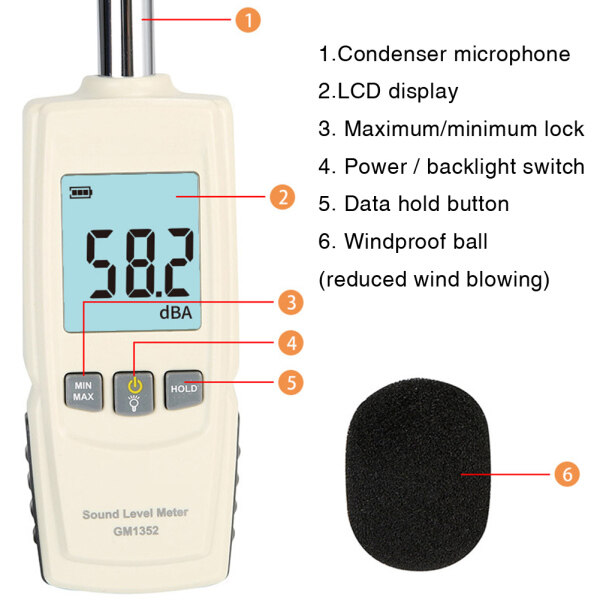 Data Hold Decibel Home Portable Industrial Office Noise Measurement LCD Display 30-130dB Digital Sound Level Meter