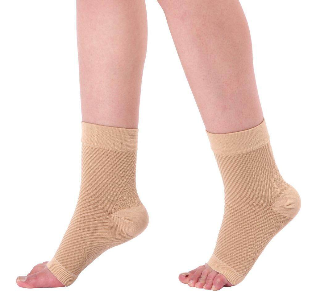 1196d941c Bigood Unisex Fasciitis Arthritis Socks Compression Foot Sleeve with Arch  Support L XL Apricot