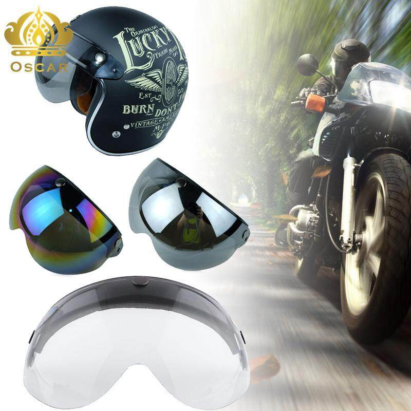 Universal Pilot-Style Motorcycle Helmet 3-Snap Visor Shield Flip Up Clear