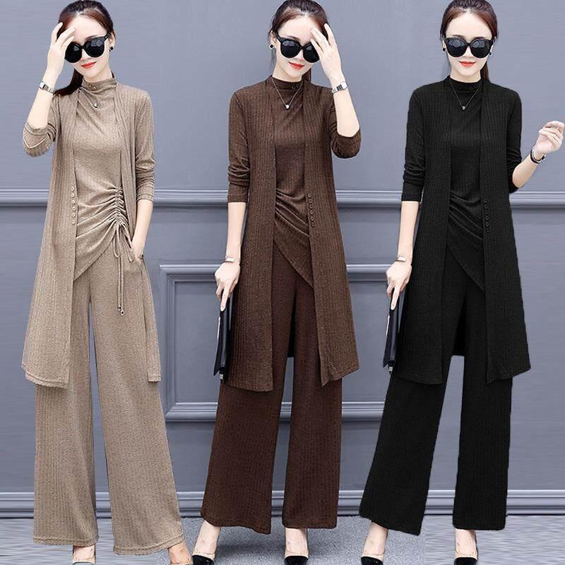 7ac87927e63 Plus Size Women Knitted Plain Set Wear  Long Cardigan+Sling Blouse+Palazo  Pants