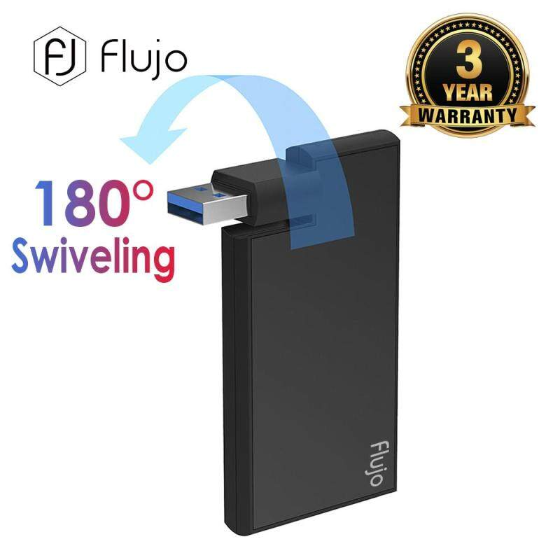 Flujo AH-3 Ultra Slim Aluminum 4 Port Rotatable USB 3.0 Hub with Swiveling Connector for Mircosoft Surface, MacBook, Ultrabook and Laptop