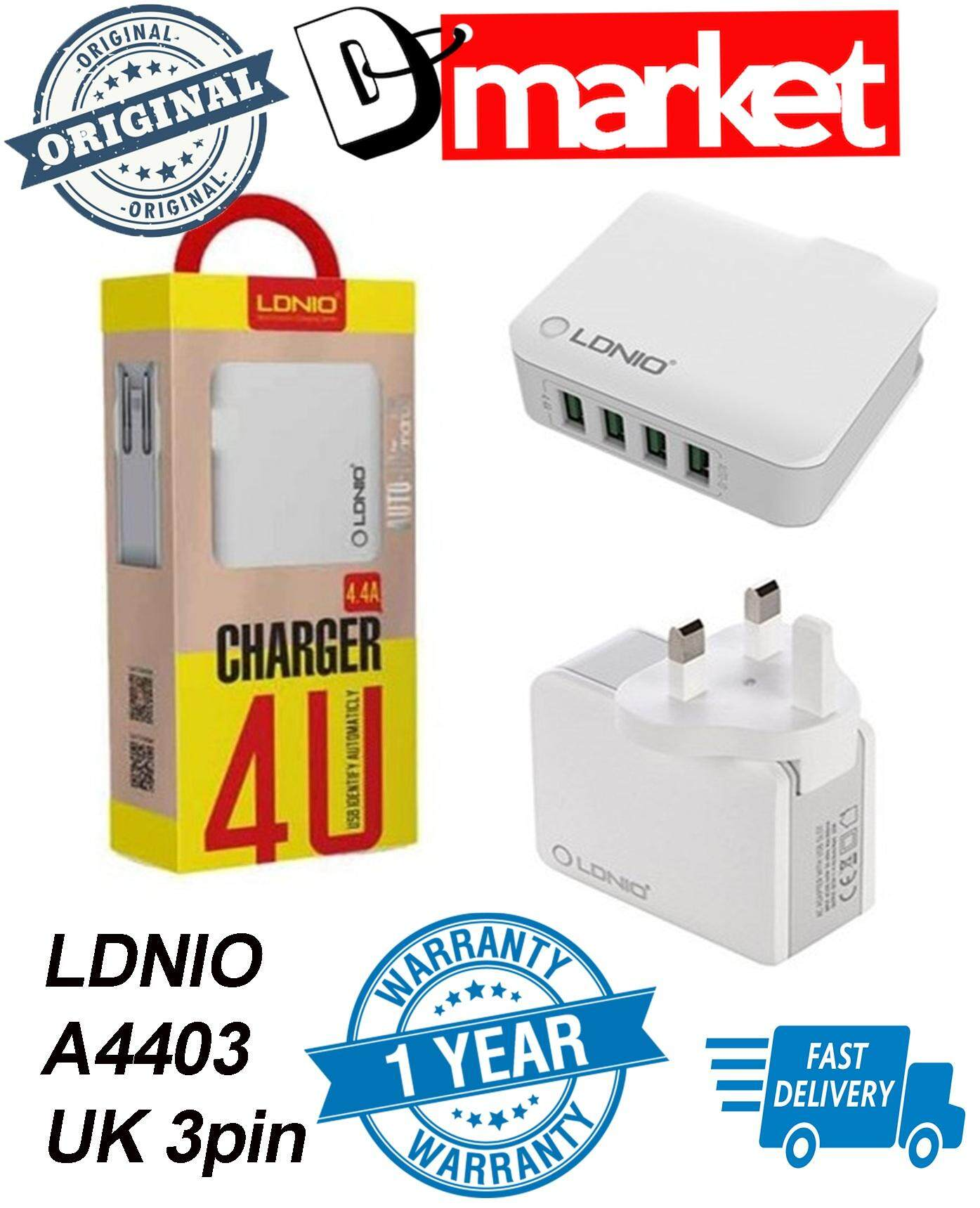 Original Ldnio A4403 4 Usb 4.4a Charger Uk 3pin Plug By Dmarket.