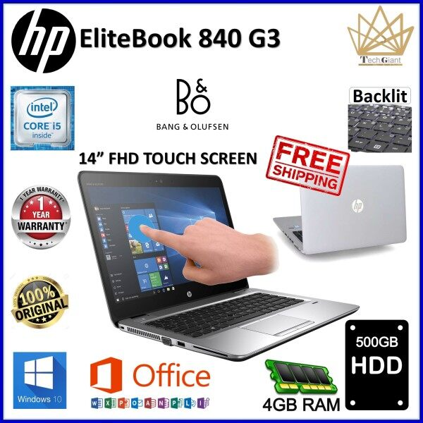 HP EliteBook 840 G3- FULL HD TOUCH SCREEN, CORE i5 6300U / 4GB / 8GB / 16GB / 32GB - DDR4 RAM  / 128GB SSD/ 256GB SSD / 512GB SSD / 1TB SSD / 500GB / 1 TB HDD / 14 inch FULL HD TOUCH SCREEN / WINDOWS 10  PRO / REFURBISHED NOTEBOOK /1 YEAR WARRANTY Malaysia