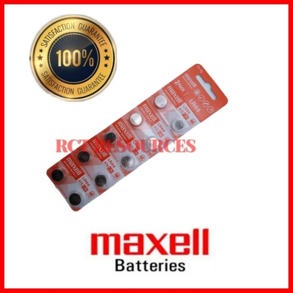 10pcs LR44/A76 GENUINE Maxell Button Cell Alkaline Battery 1.5V Malaysia