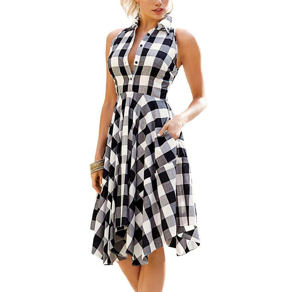 fe7dd90dd5 HiQueen Women Plaid Printing Pocket Irregular Casual Pleated Dress