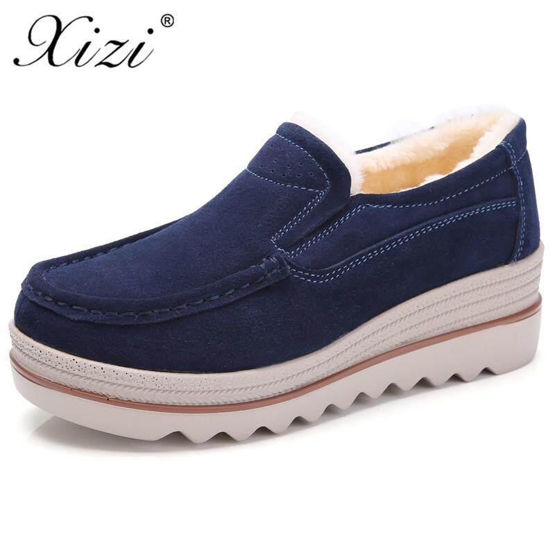 68354cb9441 XIZI 2018 Autumn Women Flats Shoes Platform Sneakers Shoes Leather Suede  Casual Shoes Slip on Flats Heels Creepers Loafers Women