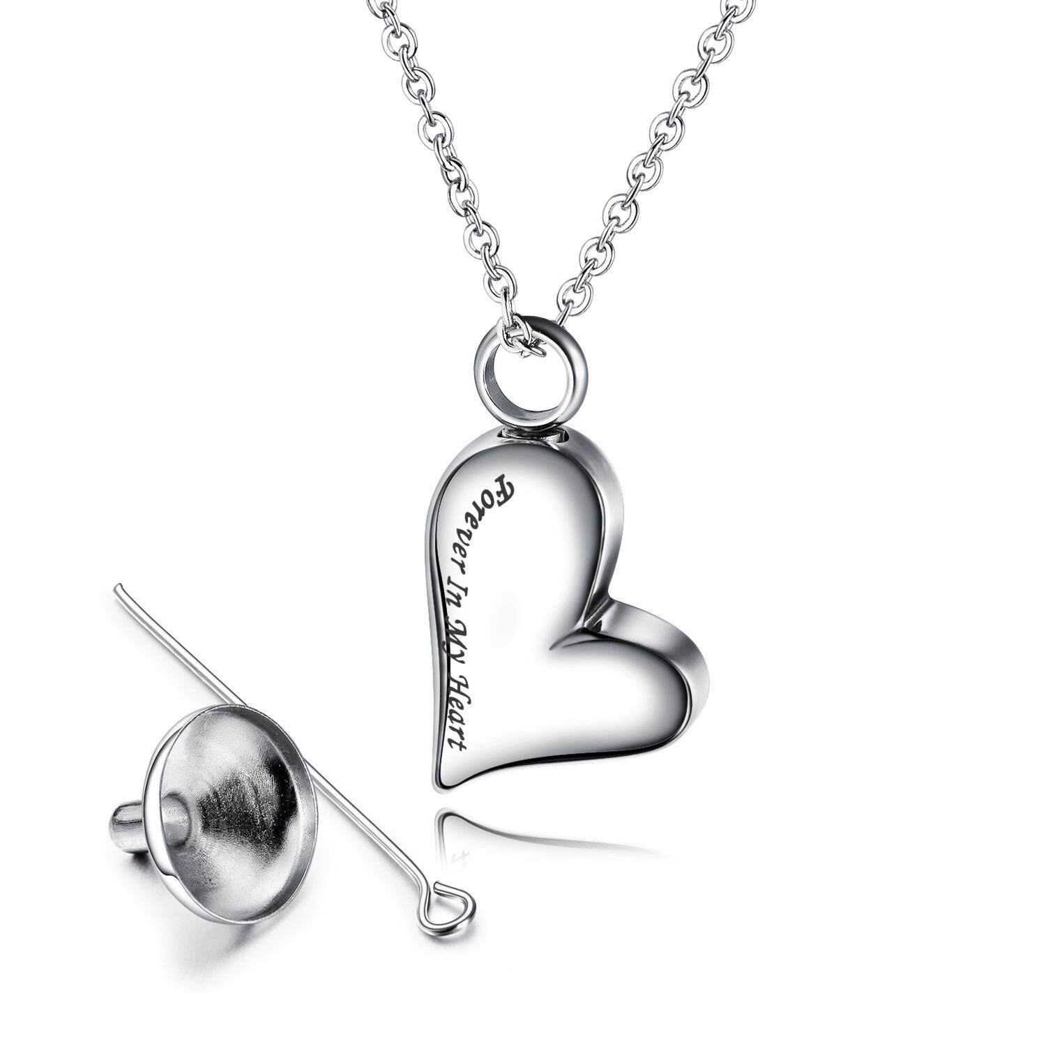 """Angel Wing Charm & Crystal Cremation Urns Necklace """"Forever in My Heart"""" for Dogs"""