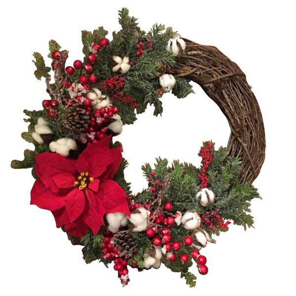 [pantorastar]Christmas Wreath Hanging Fall Wreath Front Door Decor Home Artificial Flowers Holiday Decorations