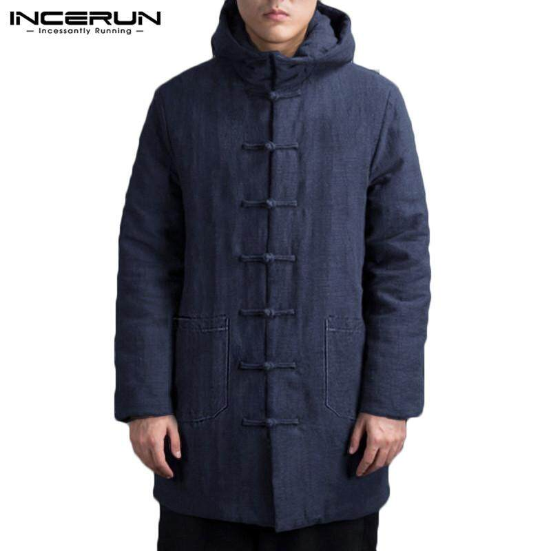 INCERUN Men's Cotton Comfort Hooded Coat Long Sleeve Chinese Style Vintage Warm