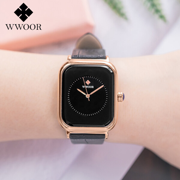 WWOOR Crocodile Leather Strap Female Business Watch Fashion Ladies Square Watch Top Luxury Brand Womens Japanese Quartz Casual Wristwatch Rose Gold White Black Pink Malaysia