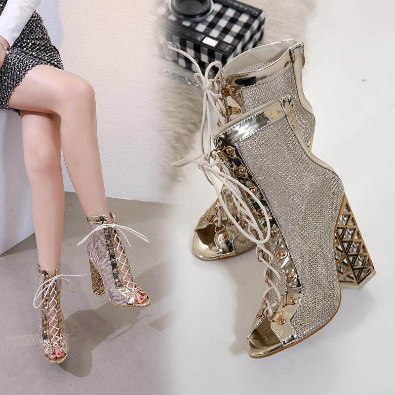 New Crystal Thick Heel Sandals High Heel Waterproof Platform Fish Mouth Female Sandals By Xin Xin Shop.