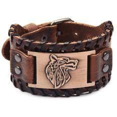 Vintage Men Dệt Bangle Da Rộng Điều Chỉnh Wolf Head Bracelet Trang Sức