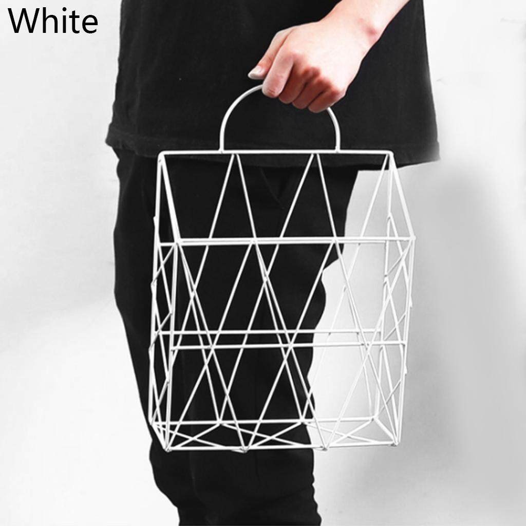 Fashion Storage Basket Portable Wall Hanging Storage Rack Net Iron Desk Holder for Magazine Newspaper