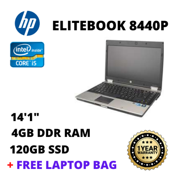 HP Elitebook 8440P  - 14/4GB RAM/ 120GB SSD / Core I5-1st Laptop (Refurbished) Malaysia
