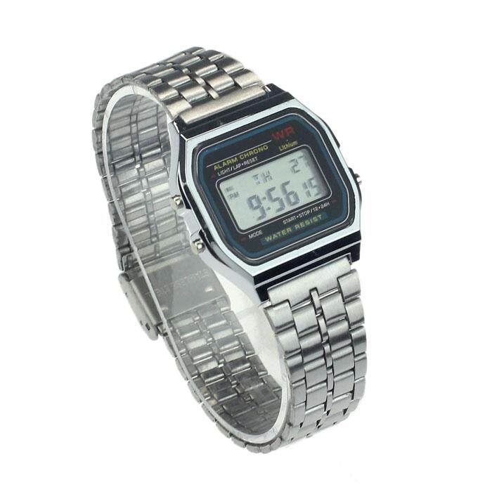 BPFAIR_Vintage Womens Men Stainless Steel Digital Alarm Stopwatch Wrist Watch Free shipping Malaysia