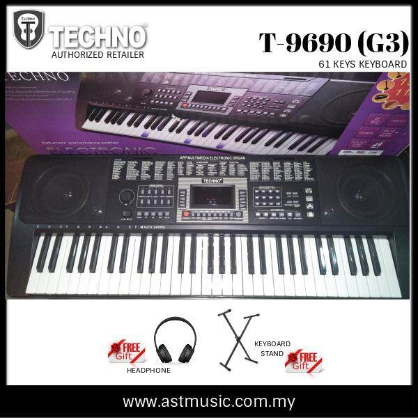 Techno T-9690 Generation 3 Portable Keyboard (T9690 / T 9690) with stand and headphone Malaysia