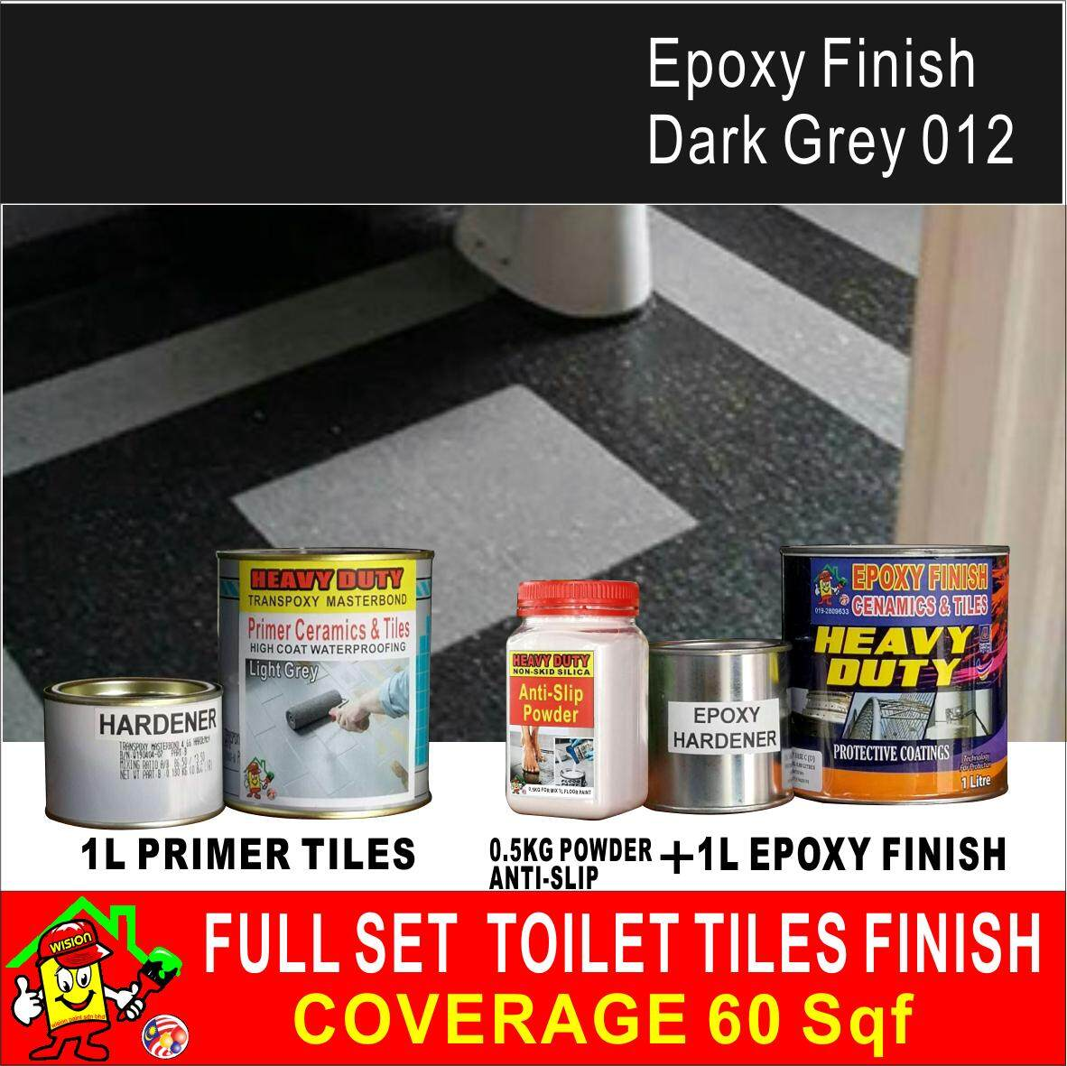 012 DARK GREY ( FULL SET ) TOILET TILES FINISH 1L PRIMER TILES AND 0.5 KG POWDER ANTI SLIP AND 1L EPOXY FINISH PAINT COVERAGE 60 SQF HEAVY DUTY CERAMICS AND TILES FINISH BATHROOM DESIGN PAINT