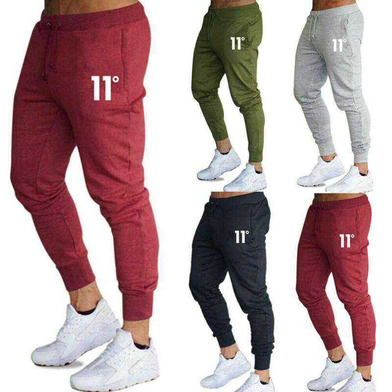 Mens Slim Fit Tracksuit Sport Gym Fitness Skinny Joggers Sweat Pants Trousers