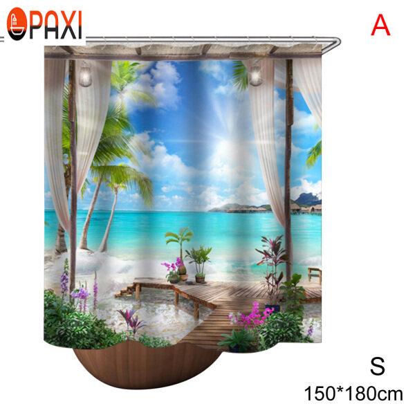 PAXI Rèm Phòng Tắm Phòng Tắm Chống Thấm Nước Polyester In Phong Cảnh Trang Trí Dành Cho Gia Đình