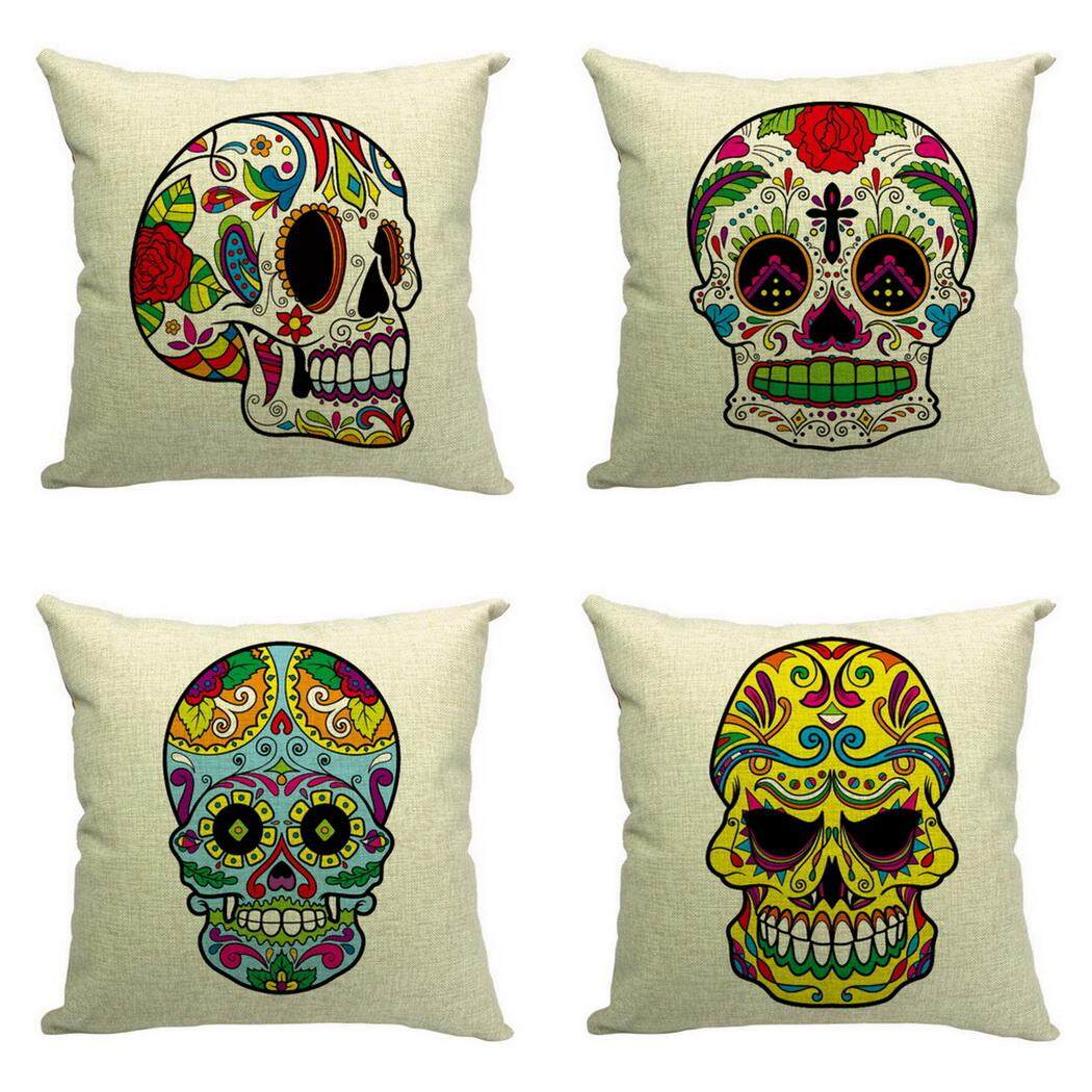 Bigood Pack of 4 Colorful Skull Halloween Cushion Cover Cotton Linen 18x18 Decors Pillowcases Sofa Pillow Cover