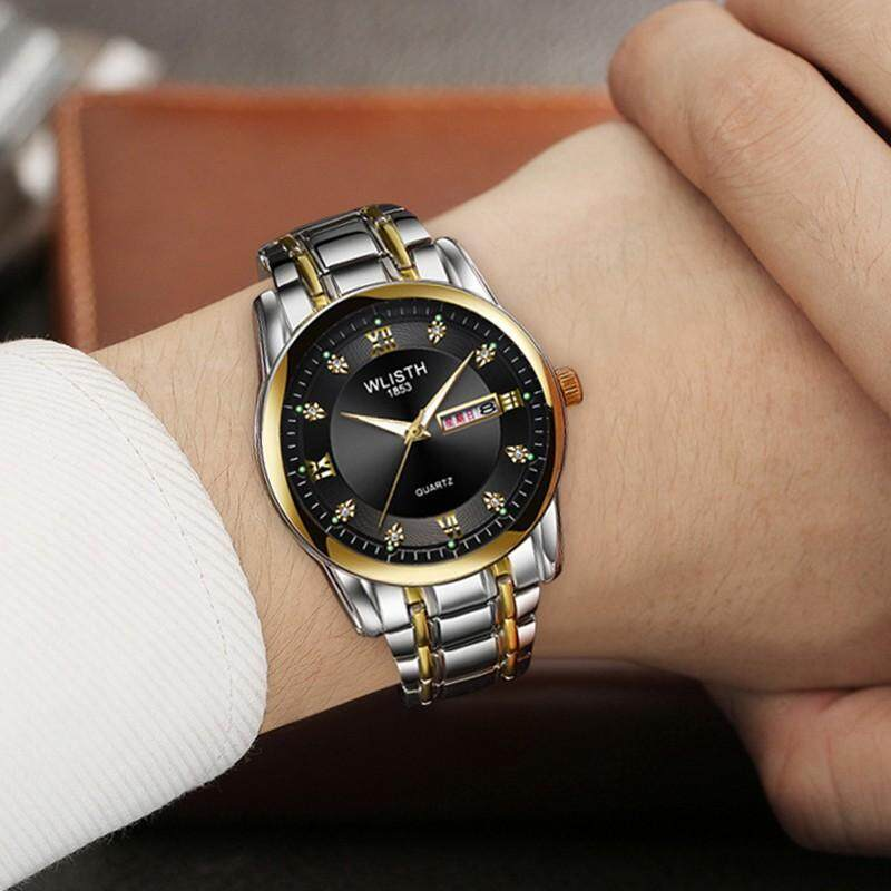 DOTEC WLISTH Luxury Watches Men Waterproof Quartz Watch Stainless Steel Clock Mens Business Dual Calendar Wristwatches Malaysia
