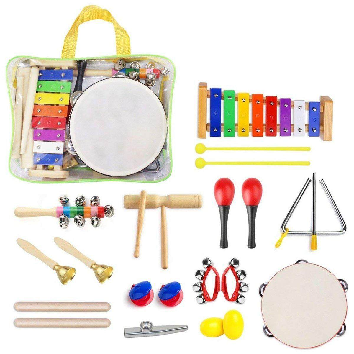 22 Pcs Toddler Musical Instruments Set Percussion Instrument Toys Toddler Musical Toys Set Rhythm Band Set Birthday Gift For Toddlers Kids Preschool Children With Storage Bag By Rainning.