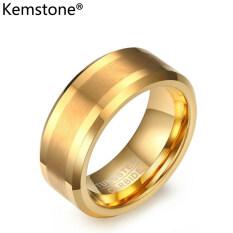 Kemstone Vòng Thép Vonfram Chải 8MM Mạ Vàng Thời Trang Dành Cho Nam, Quà Tặng Trang Sức