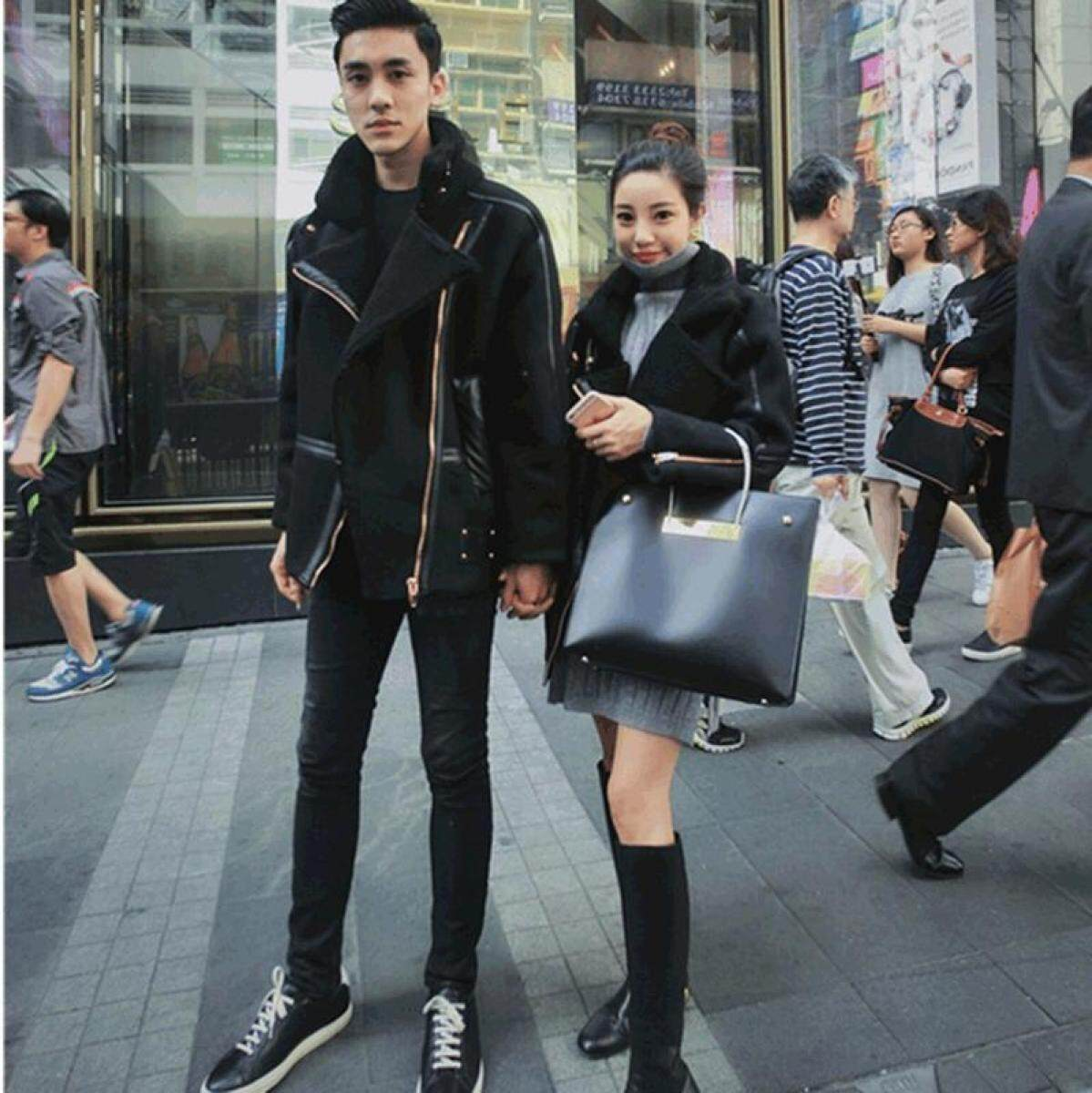 Suede Lambs Wool Short ji che fu South Korea Jacket Black Loose Couples Coat Fashion Men And Women Autumn And Winter Thick